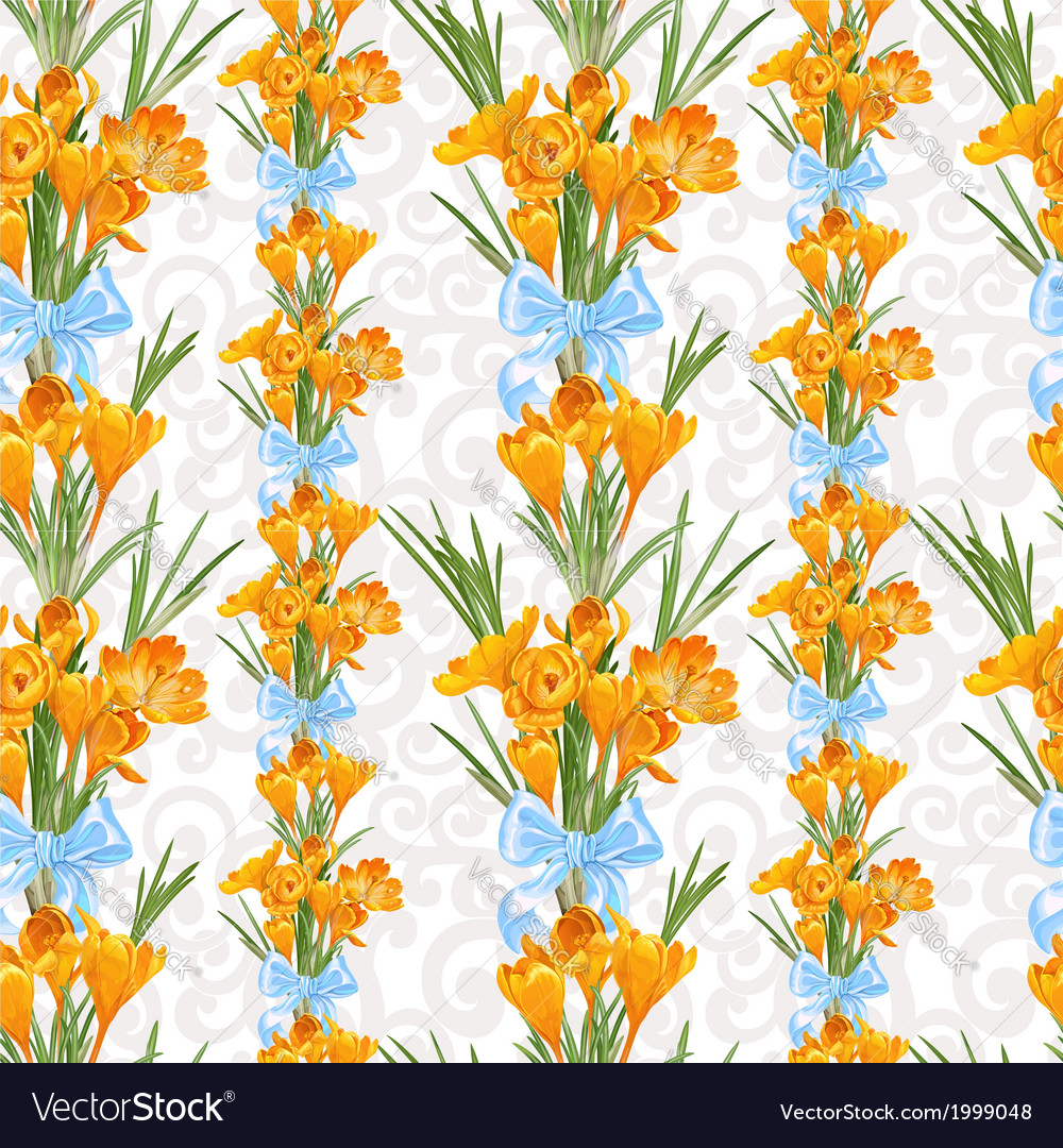 Seamless backround from spring yellow crocuses vector | Price: 3 Credit (USD $3)