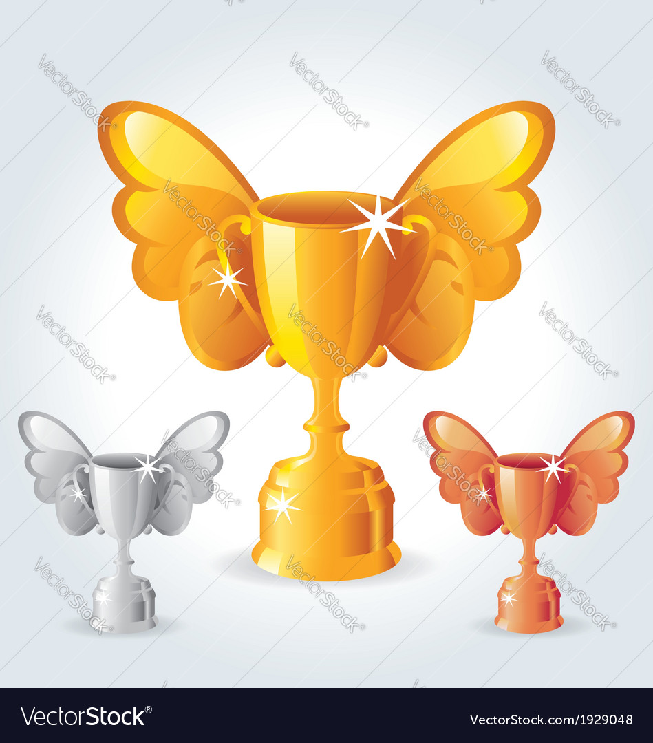 Trophies with wings vector | Price: 1 Credit (USD $1)