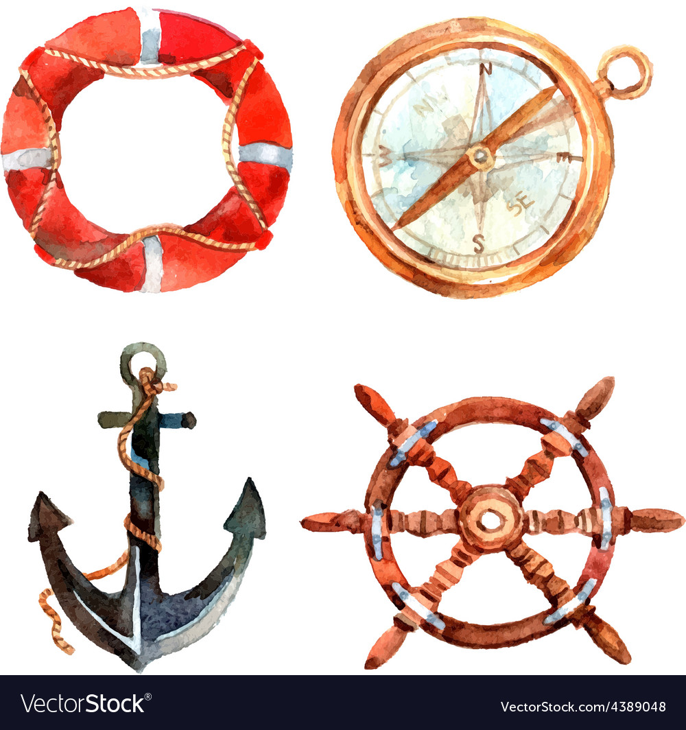 Watercolor nautical set vector | Price: 1 Credit (USD $1)