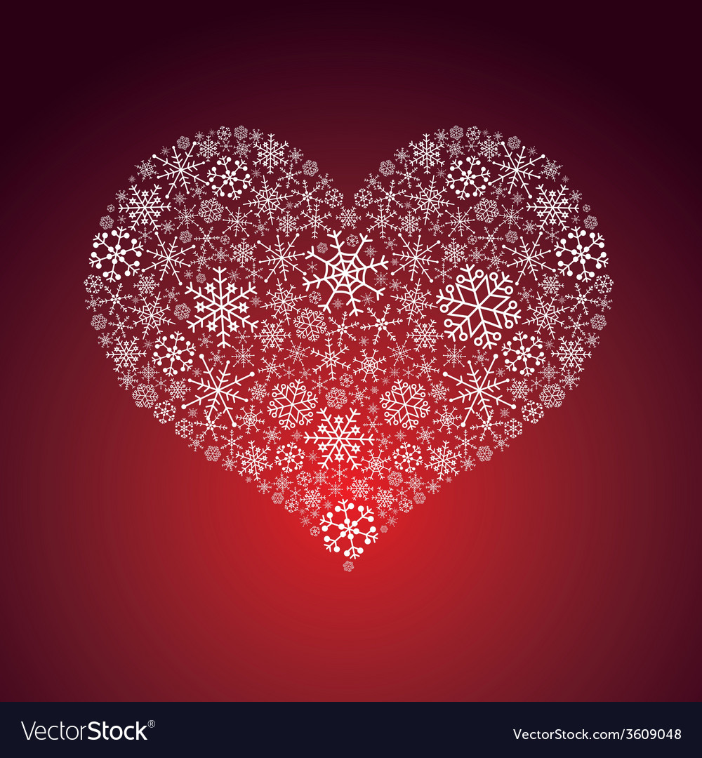 White and red valentine hearth from snowflakes vector | Price: 1 Credit (USD $1)