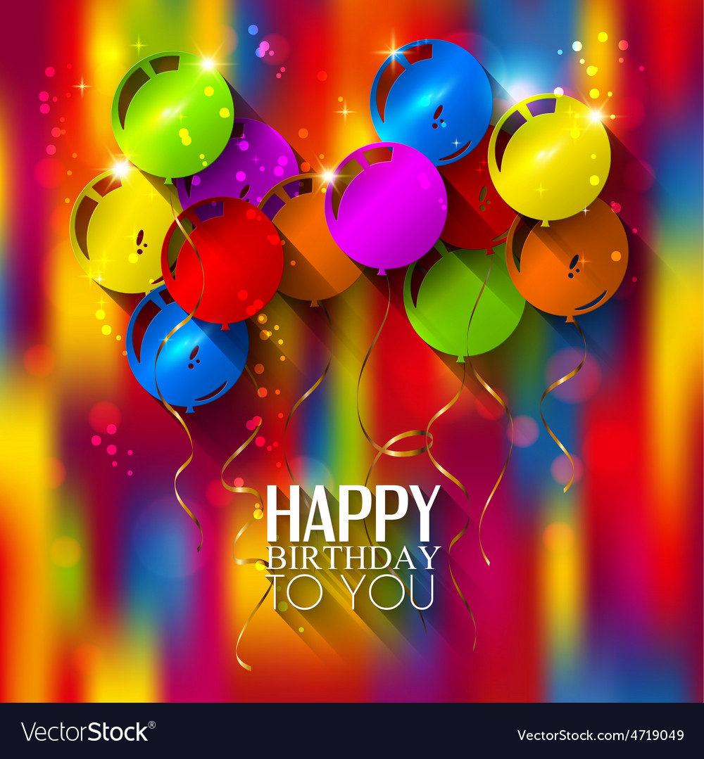 Birthday card with balloons and ribbons on vector | Price: 3 Credit (USD $3)