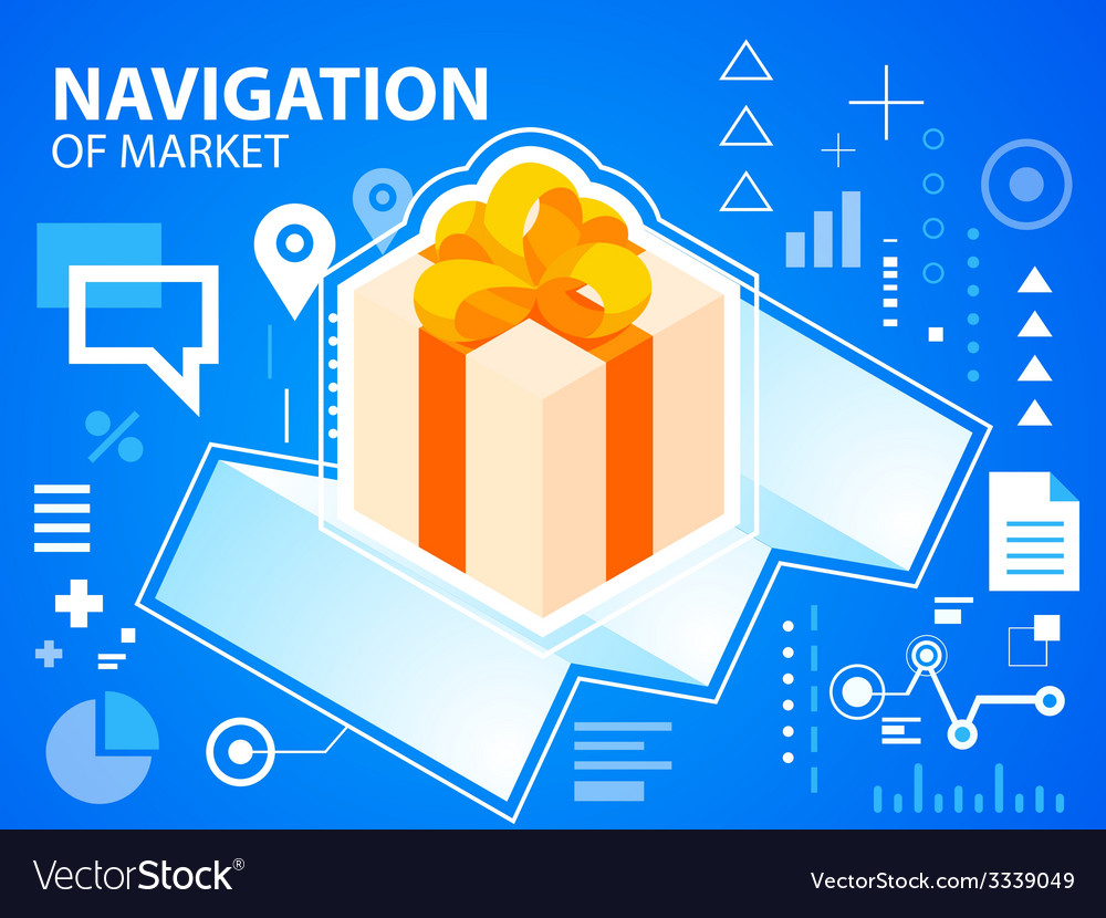 Bright navigate map and gift box with bow on vector | Price: 3 Credit (USD $3)