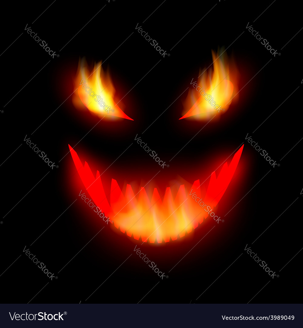 Face the demon with burning eyes vector | Price: 1 Credit (USD $1)