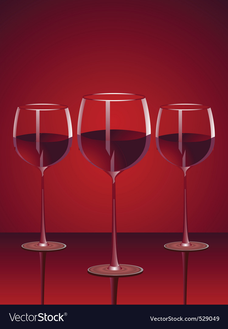 Glasses of red wine vector | Price: 1 Credit (USD $1)
