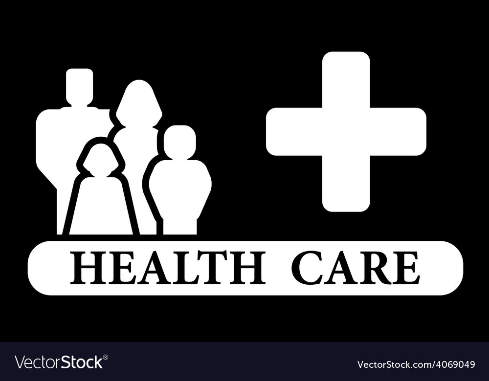 Health care icon with family and medical cross vector | Price: 1 Credit (USD $1)