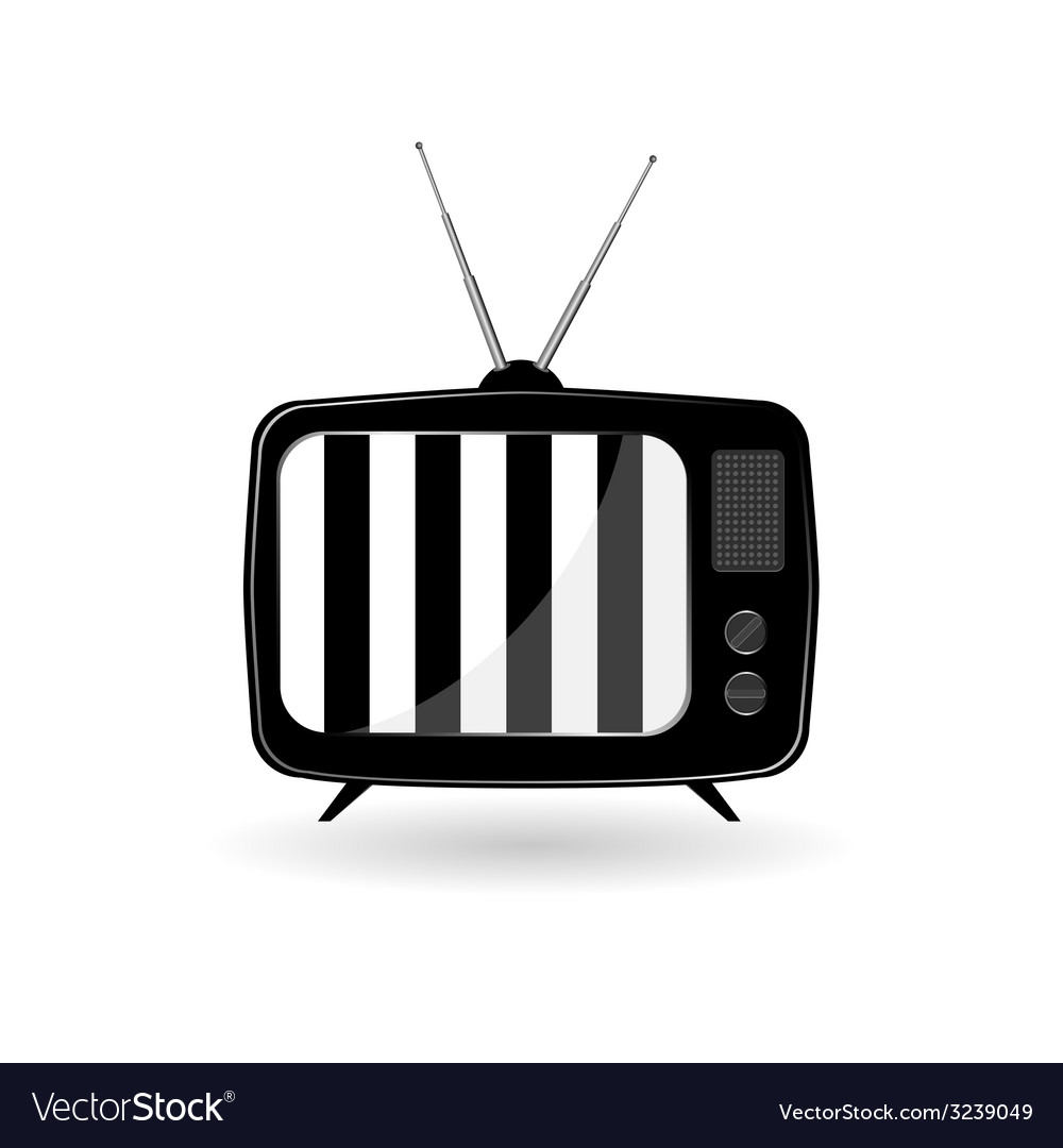 Old tv ith black and white line vector | Price: 1 Credit (USD $1)