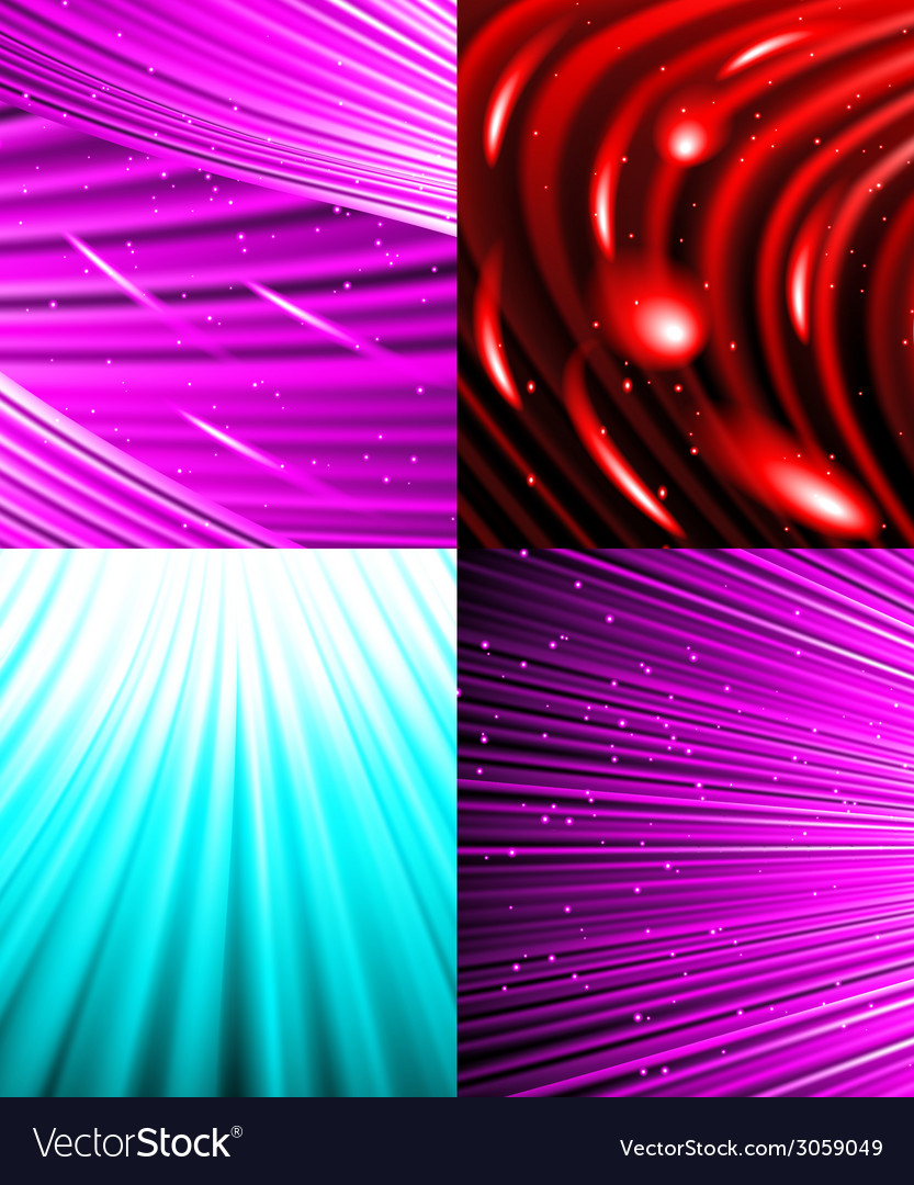 Set of background colourful luminous rays vector | Price: 1 Credit (USD $1)