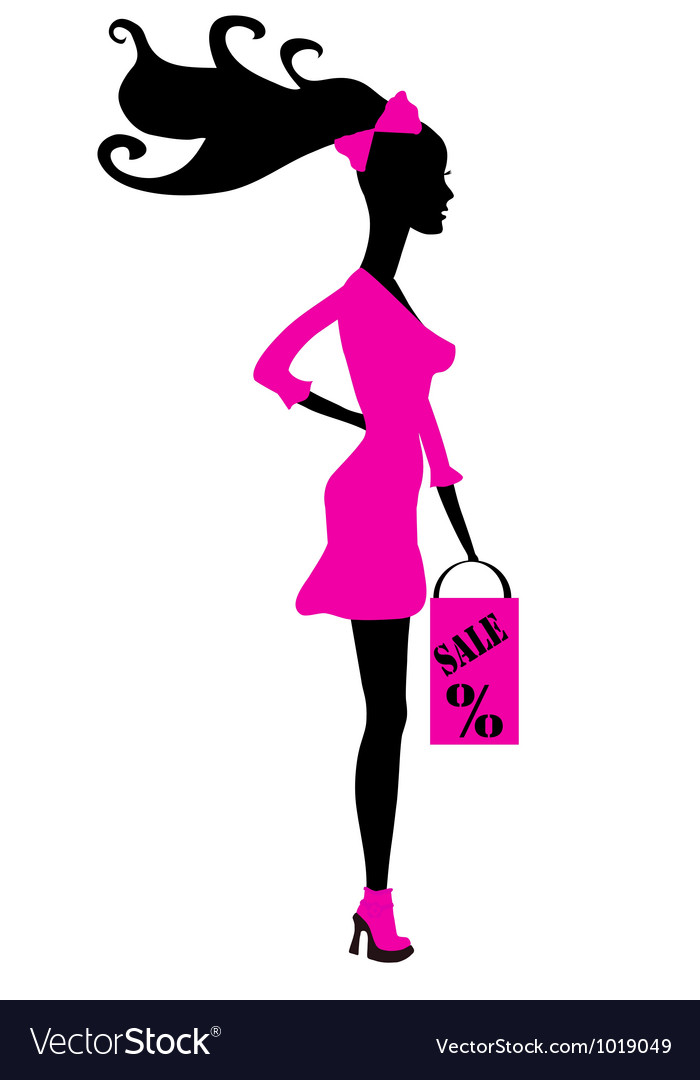 Shopping girl silhouette - seasonal sale vector | Price: 1 Credit (USD $1)