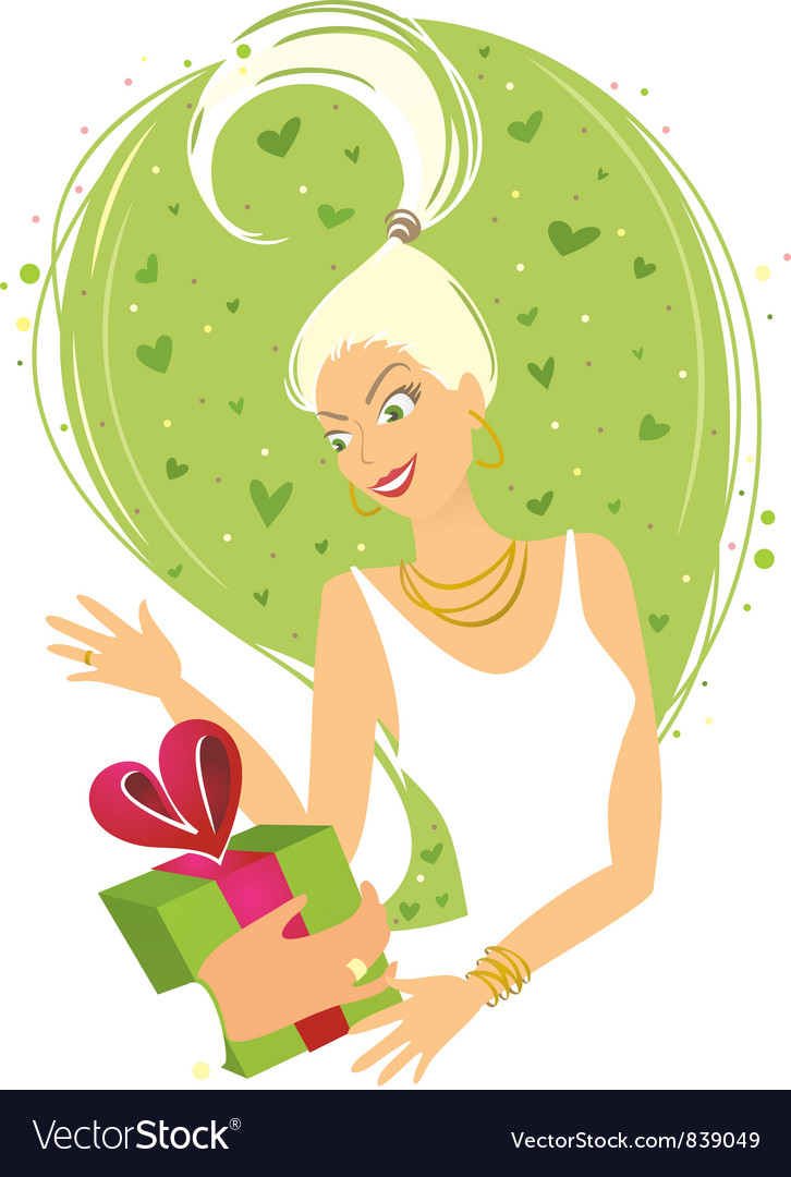 Woman receiving gift vector | Price: 3 Credit (USD $3)