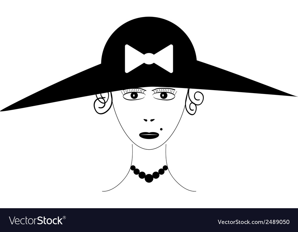 Beautiful woman wearing vintage hat vector | Price: 1 Credit (USD $1)