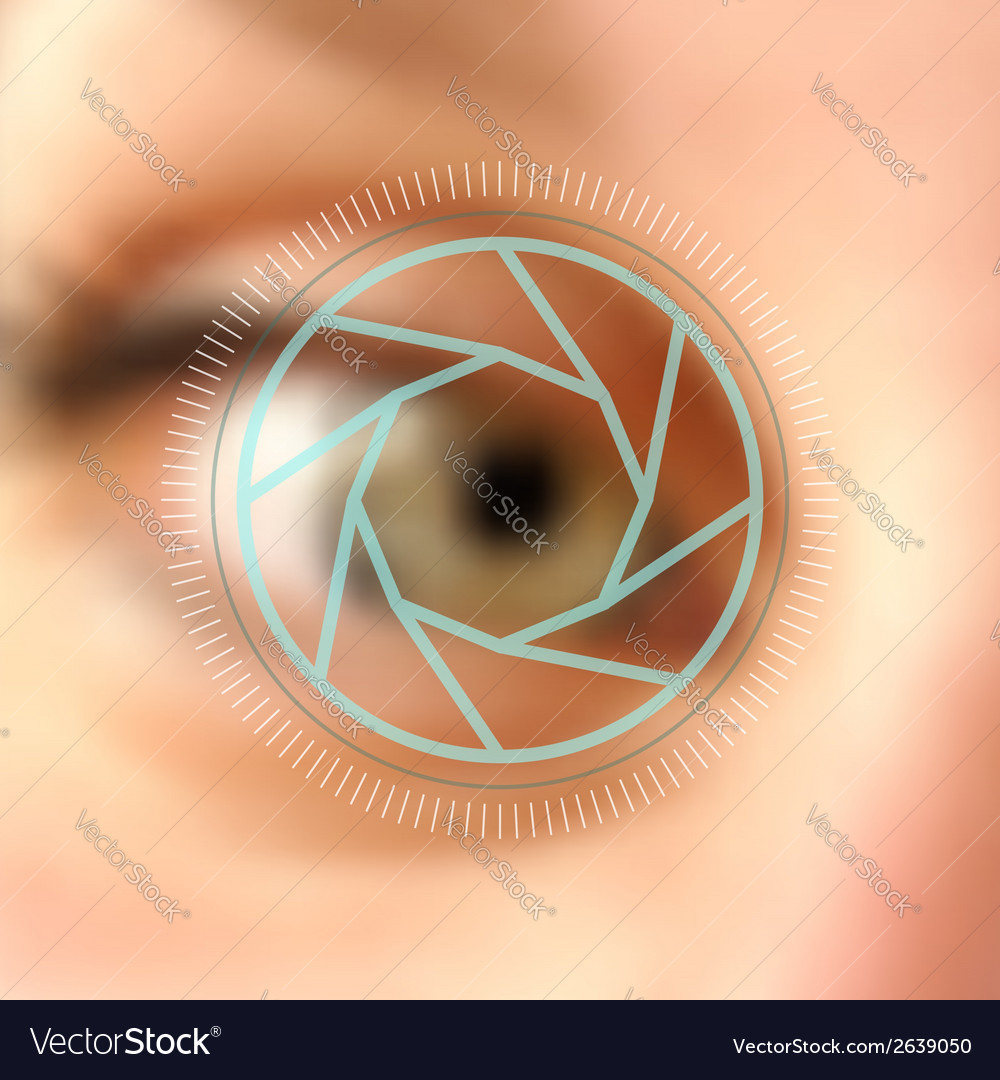 Blurred photo eye camera lens concept vector | Price: 1 Credit (USD $1)