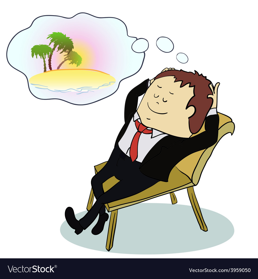 Businessman dreaming about vacation vector | Price: 1 Credit (USD $1)