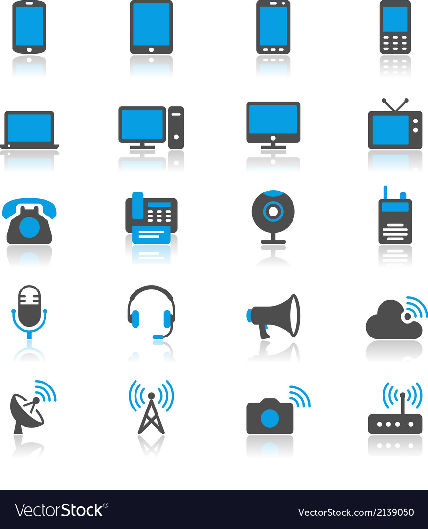 Communication device flat with reflection icons vector