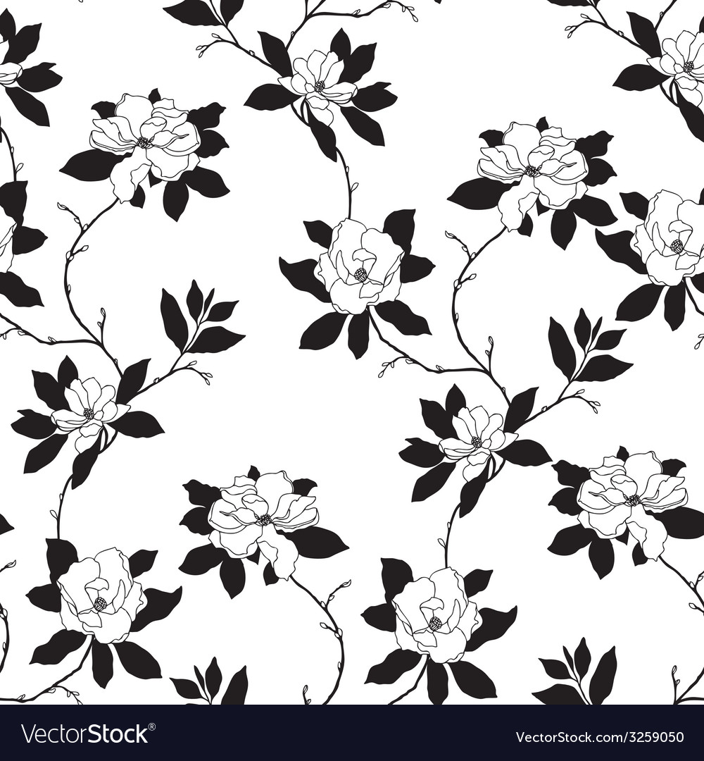 Elegance seamless pattern with flowers rose and ma vector | Price: 1 Credit (USD $1)