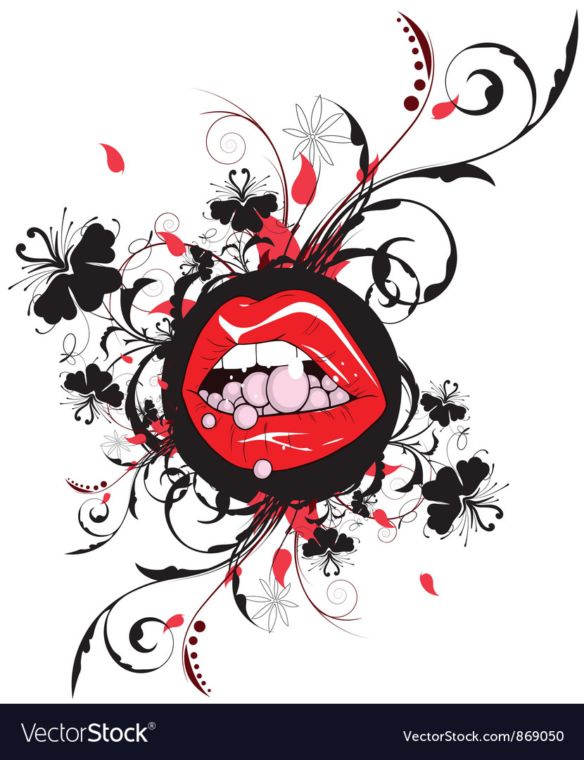 Mouth with floral vector | Price: 1 Credit (USD $1)