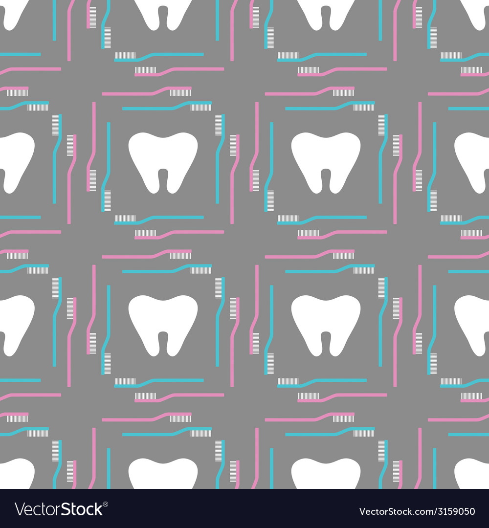 Seamless pattern of tooth brushes and teeth vector | Price: 1 Credit (USD $1)