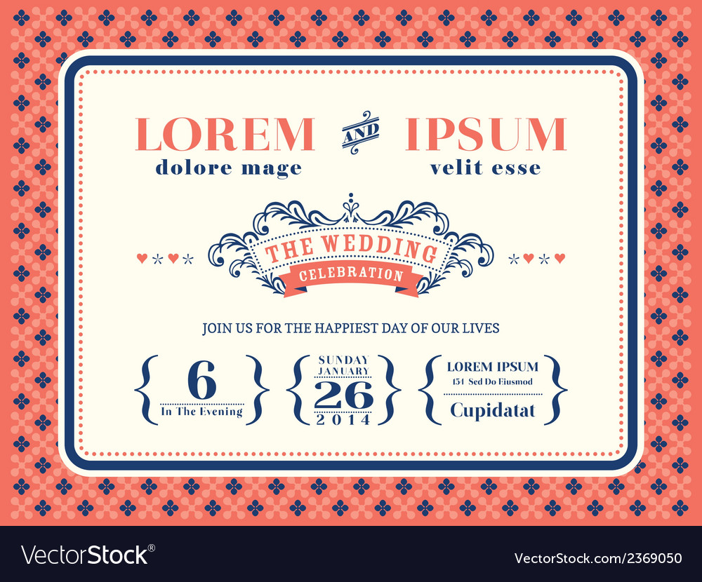 Typography wedding invitation frame template vector | Price: 1 Credit (USD $1)