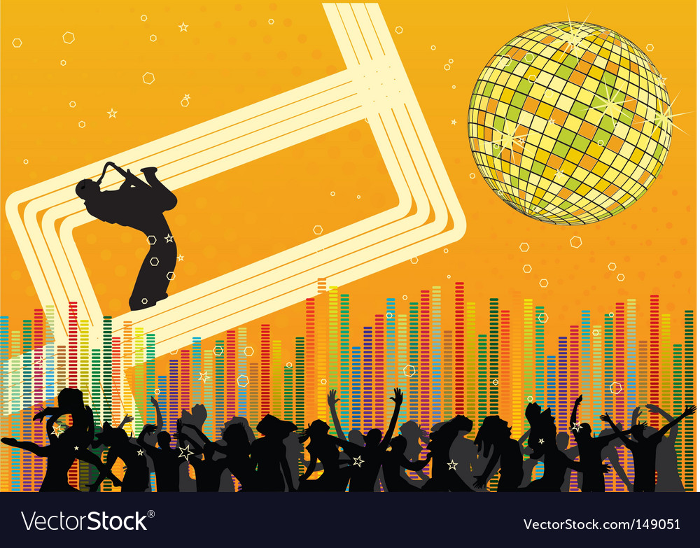 Abstract party design with saxophonist vector | Price: 1 Credit (USD $1)