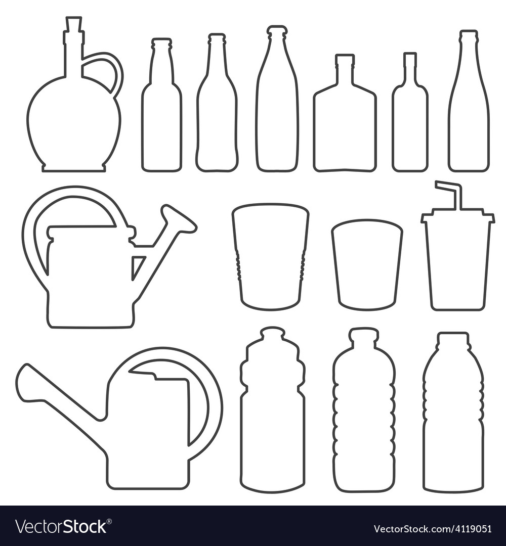 Bottle collection line silhouette vector | Price: 1 Credit (USD $1)