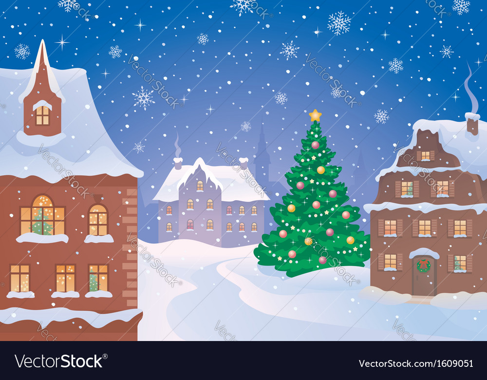 Christmas town vector | Price: 3 Credit (USD $3)