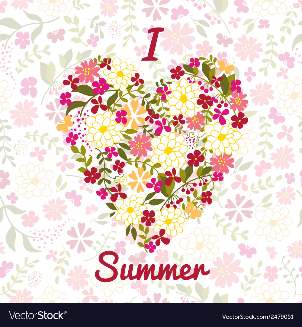 Flower background with heart and an inscription vector | Price: 1 Credit (USD $1)
