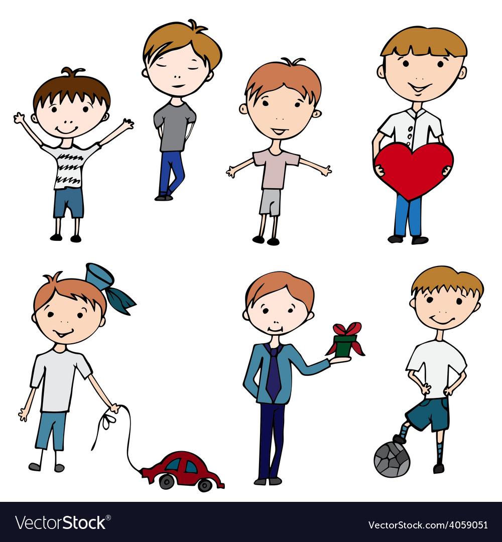 Happy kids little boys vector   Price: 1 Credit (USD $1)