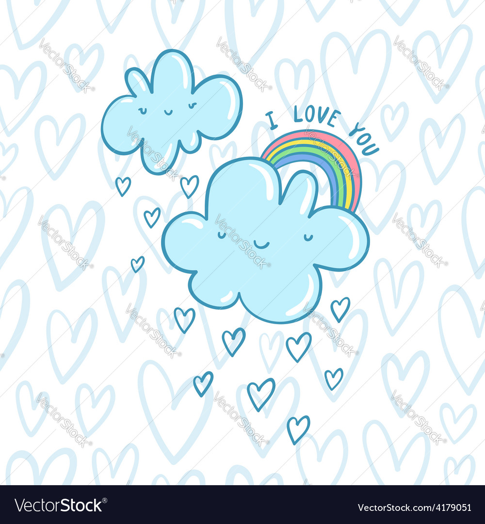I love you blue valentine clouds vector | Price: 1 Credit (USD $1)