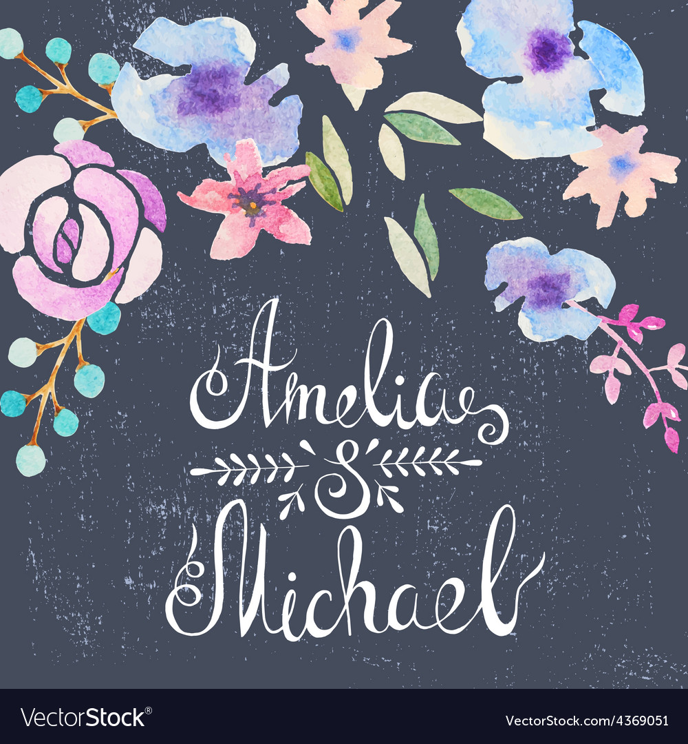 Invitation card with watercolor flowers for your vector   Price: 1 Credit (USD $1)