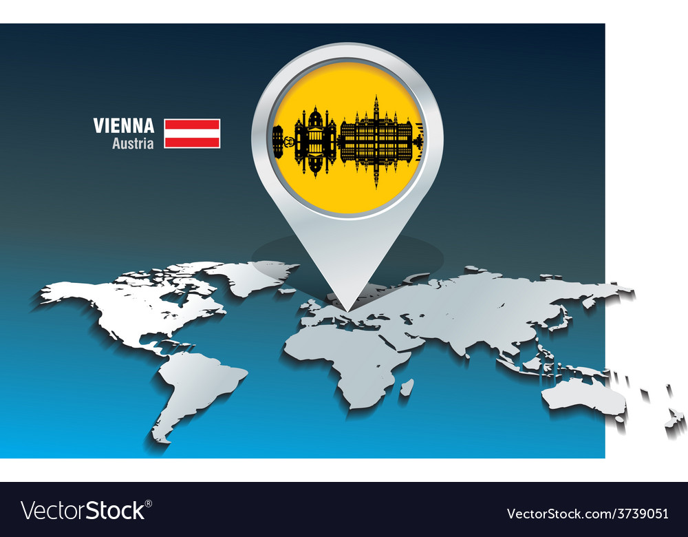 Map pin with vienna skyline vector | Price: 1 Credit (USD $1)