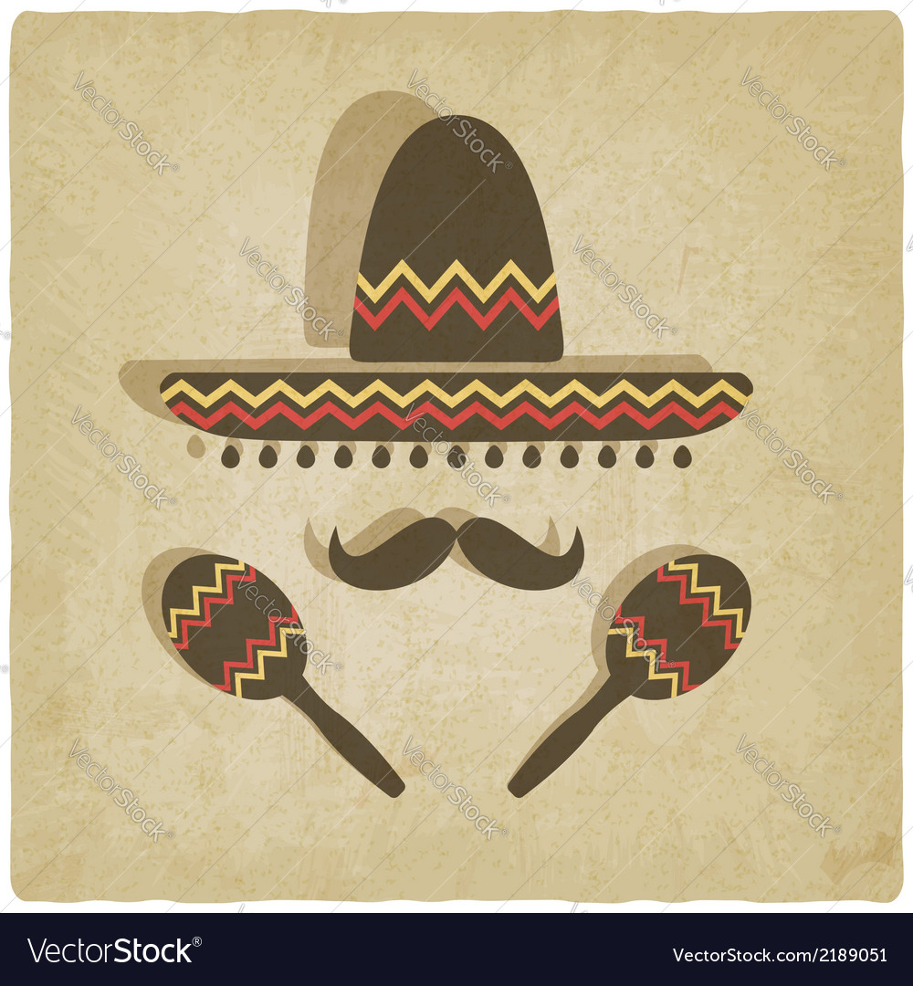 Mexican sombrero old background vector | Price: 1 Credit (USD $1)