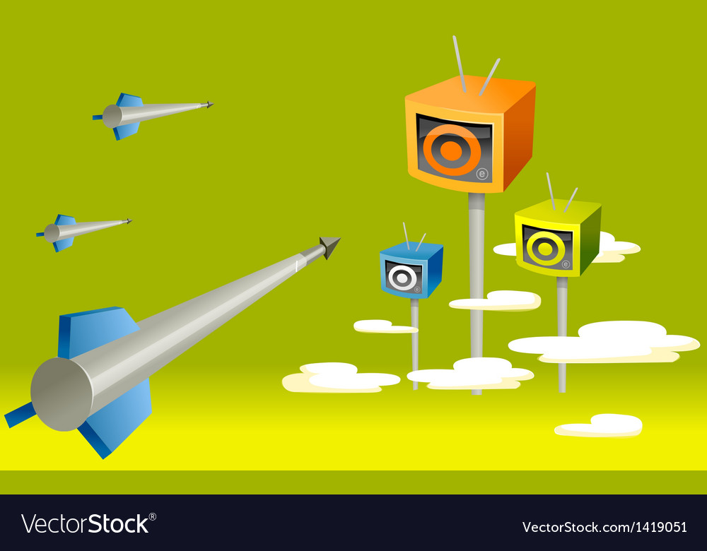 Rocket moving toward television vector | Price: 1 Credit (USD $1)
