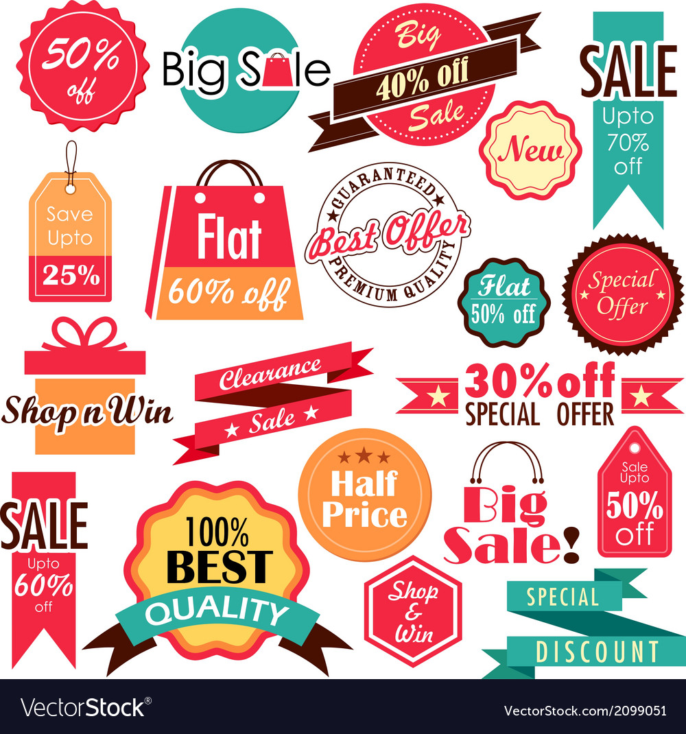 Sale and discount tags vector | Price: 1 Credit (USD $1)