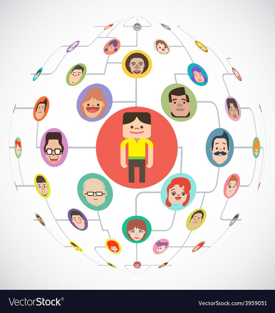 Social media globe network vector | Price: 1 Credit (USD $1)