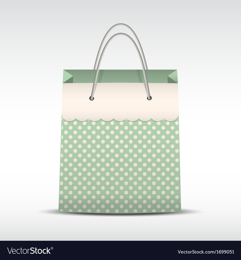 Vintage shopping bag in retro polka dots vector | Price: 1 Credit (USD $1)
