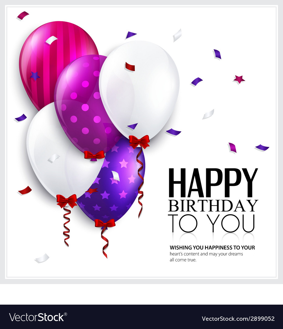 Birthday card with balloons and confetti vector | Price: 1 Credit (USD $1)
