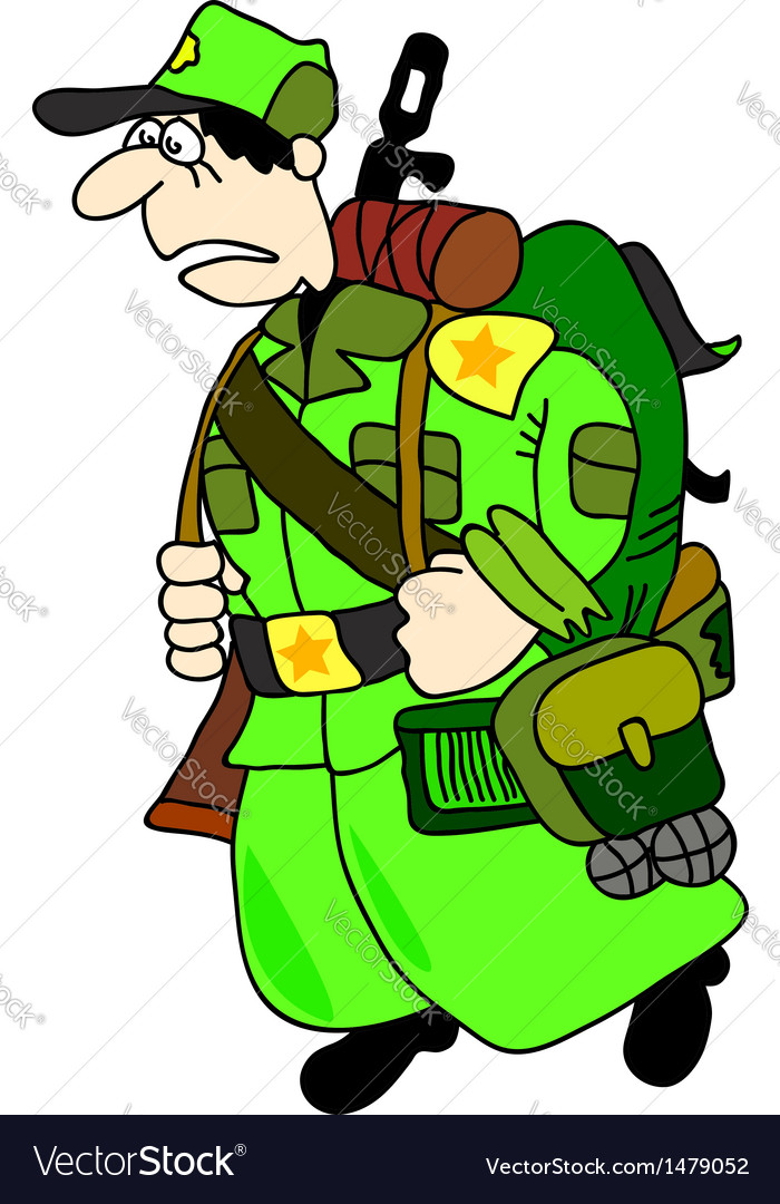 Cartoon soldier vector | Price: 1 Credit (USD $1)
