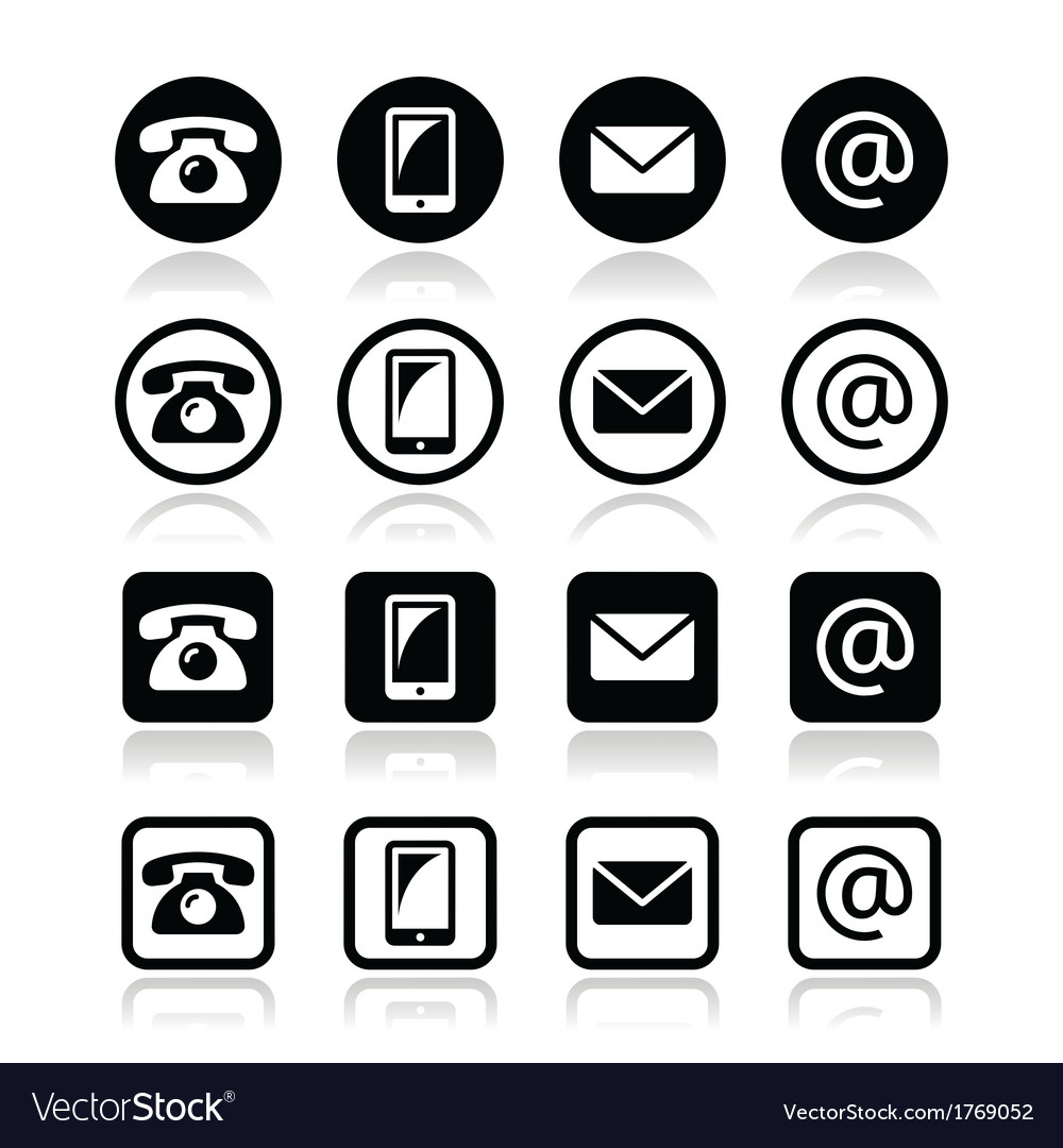Contact icons in circle and square set - mobile vector | Price: 1 Credit (USD $1)