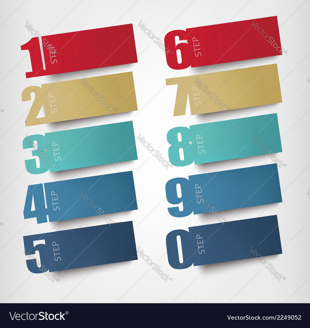Origami paper banners with numbers vector   Price: 1 Credit (USD $1)