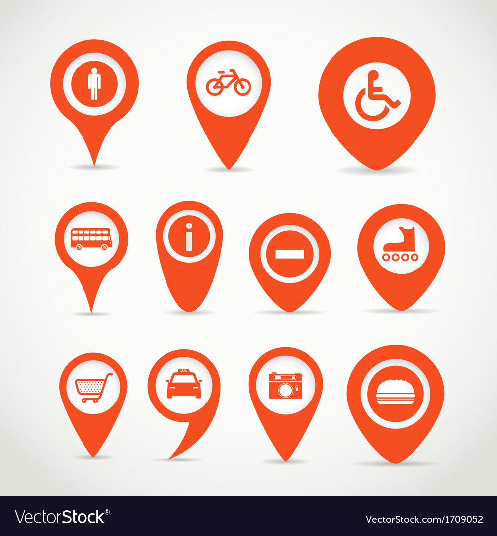Red map signs vector   Price: 1 Credit (USD $1)
