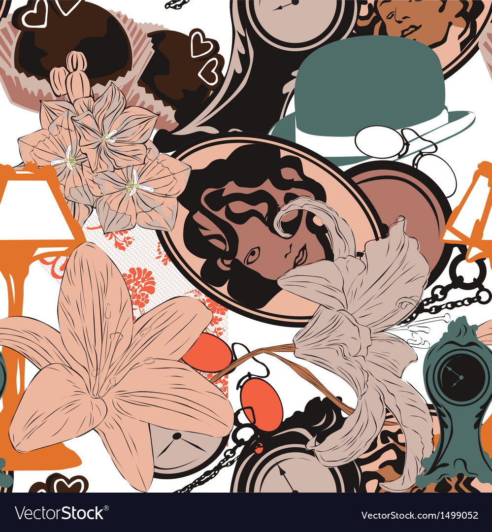 Seamless background in art nouveau style vector | Price: 1 Credit (USD $1)