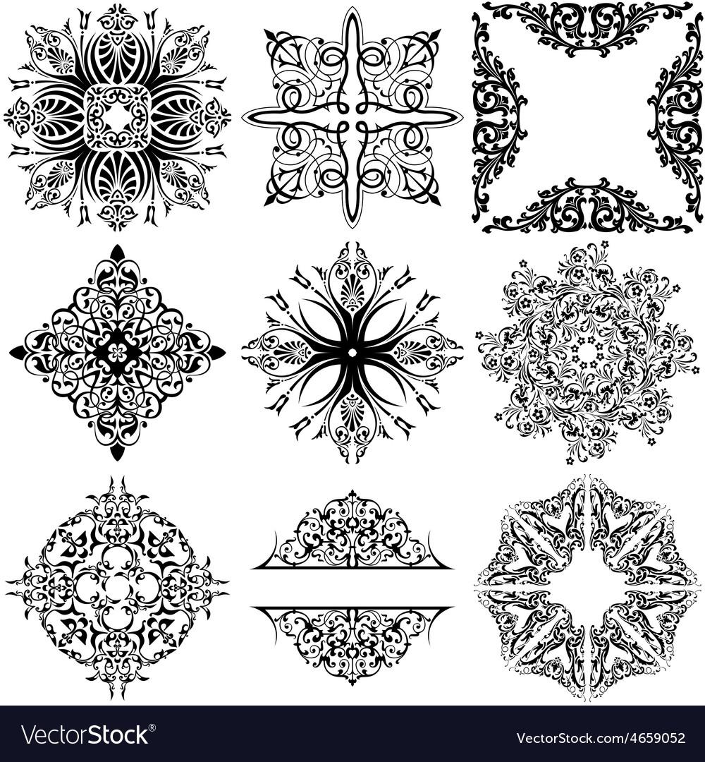 Set of 9 ornamental design elements vector
