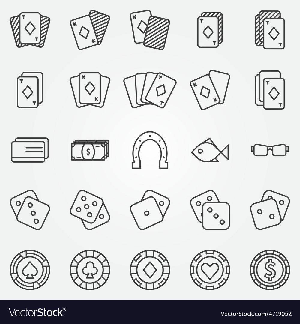 Thin line poker or casino icons set vector | Price: 1 Credit (USD $1)