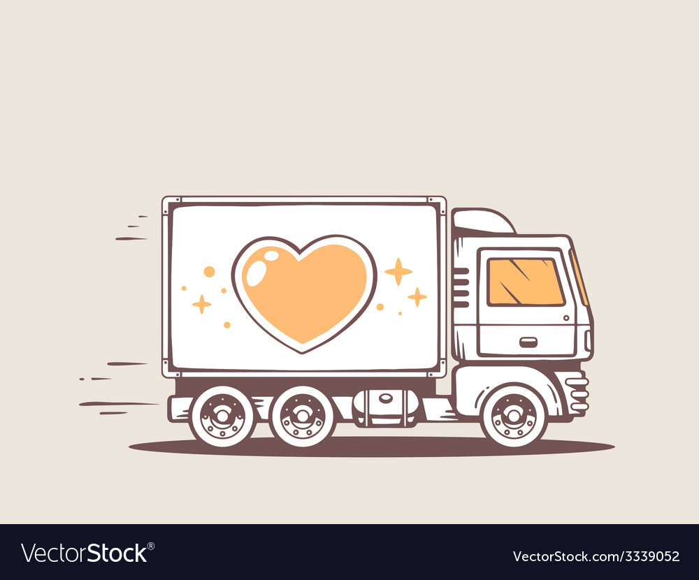 Truck free and fast delivering heart to c vector | Price: 3 Credit (USD $3)