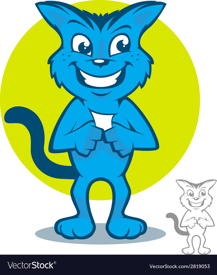 Blue cat cartoon vector | Price: 1 Credit (USD $1)