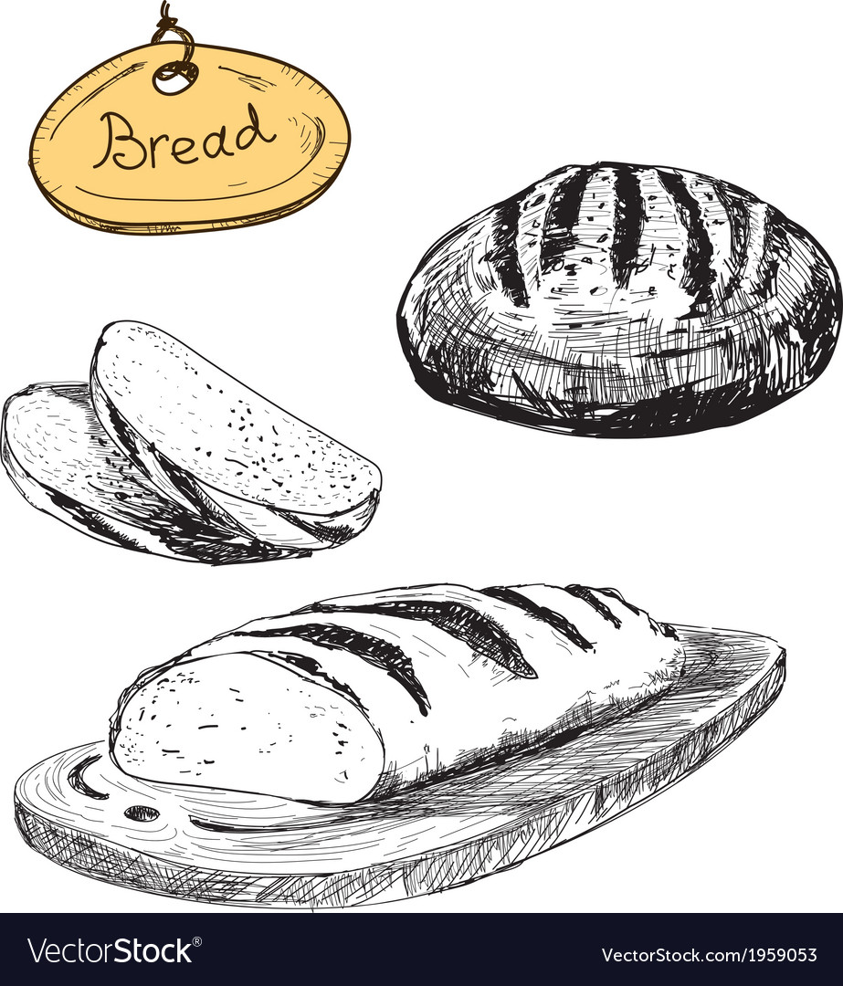 Bread hand drawn set vector | Price: 1 Credit (USD $1)