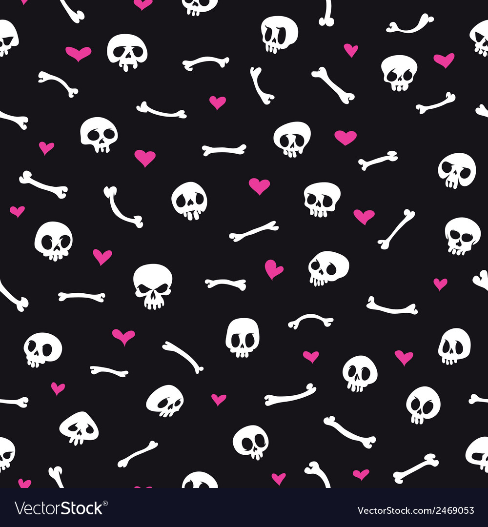 Cartoon skulls with hearts on black background vector | Price: 1 Credit (USD $1)