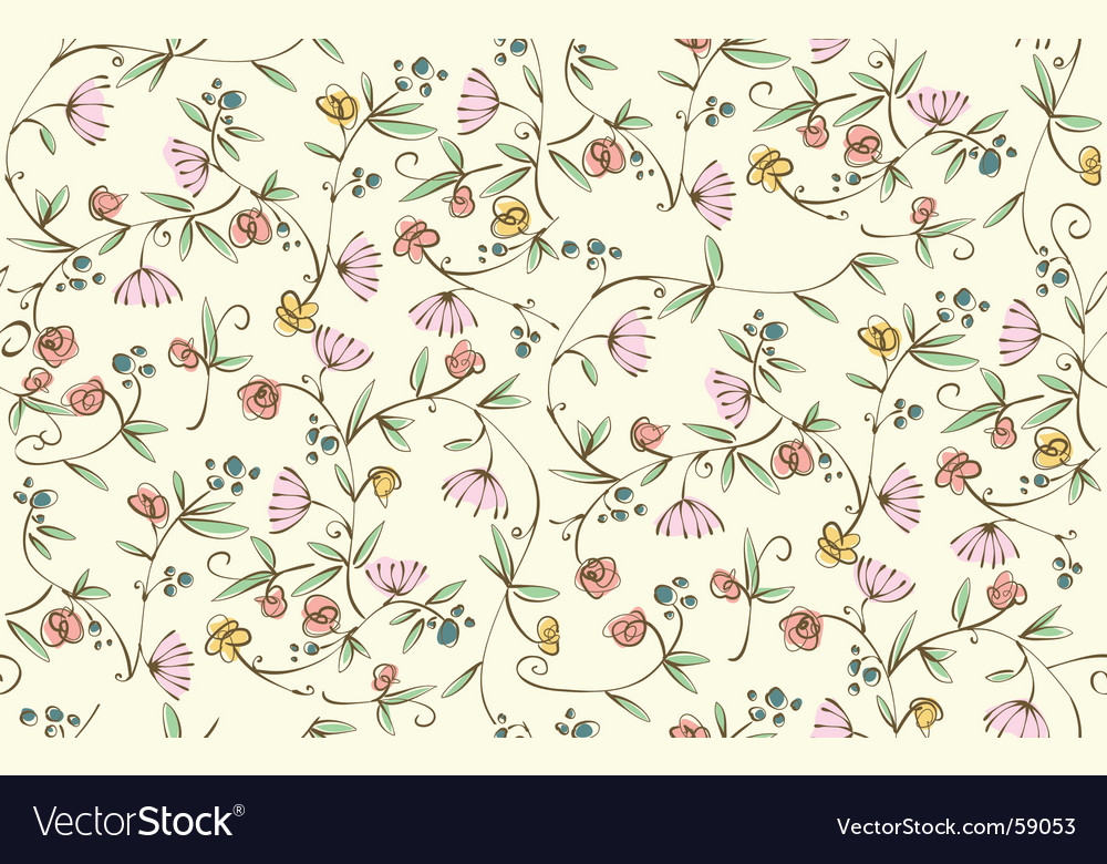 Ditsy floral seamless wallpaper vector | Price: 1 Credit (USD $1)