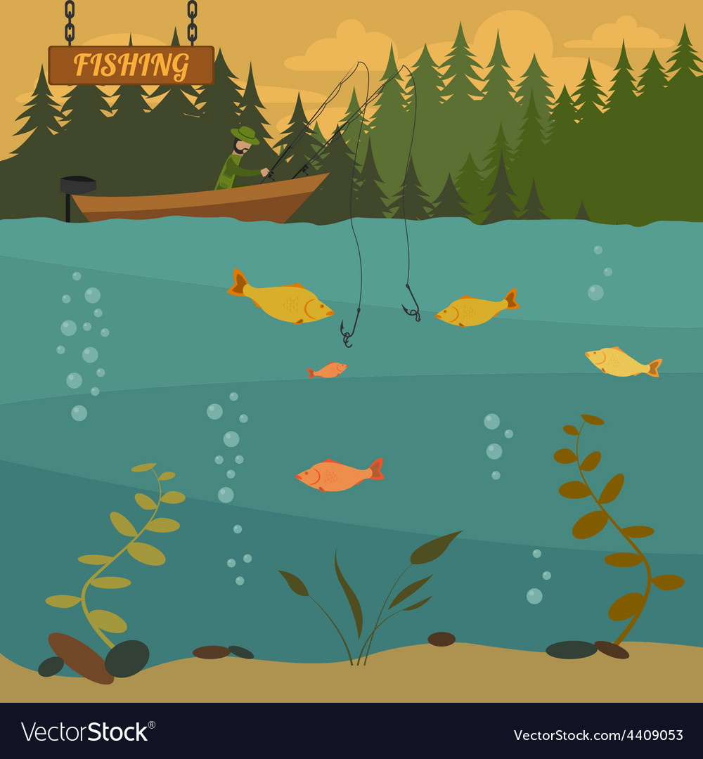 Fishing on the boat fishing design elements vector | Price: 3 Credit (USD $3)