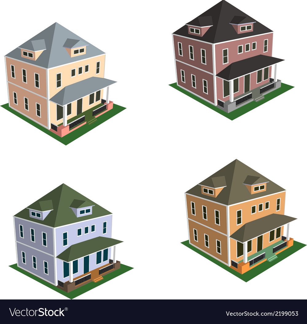 Isometric house style 1 vector | Price: 1 Credit (USD $1)
