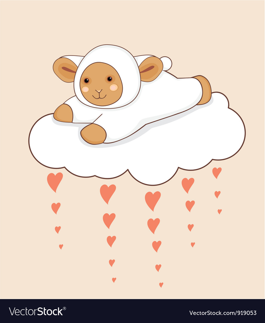 Lamb cloud heart vector | Price: 1 Credit (USD $1)